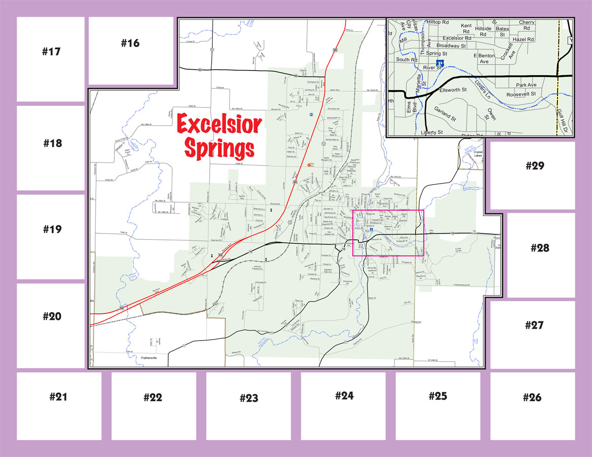 Excelsior Springs area map with downtown inset