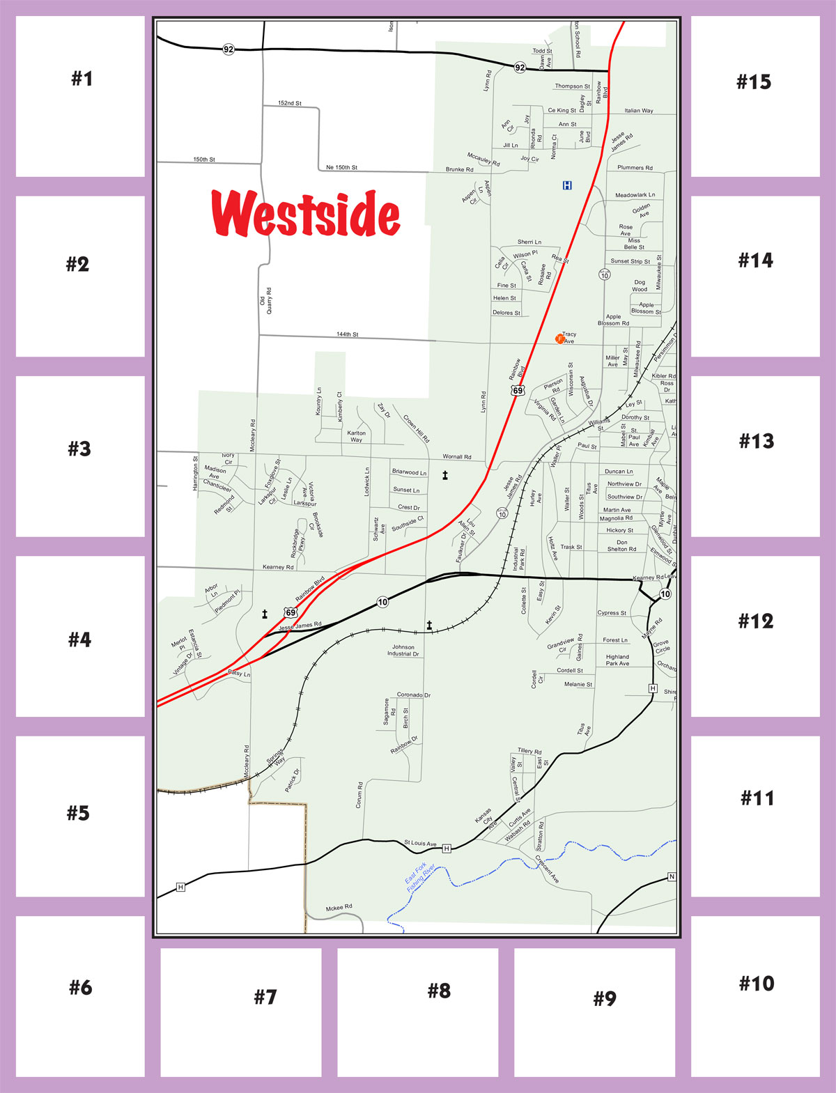 Excelsior Springs west side map